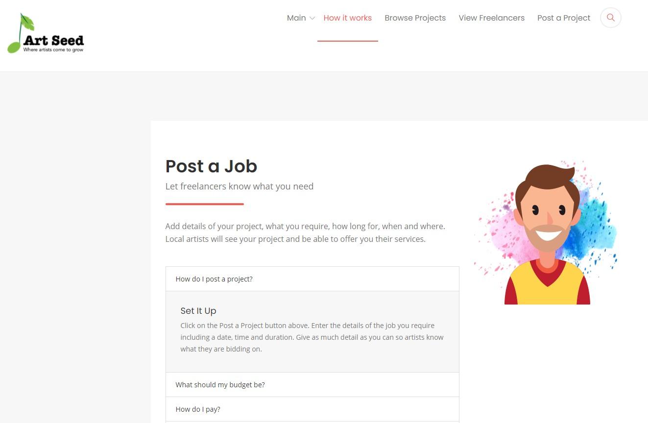 Artseed Homepage Screenshot